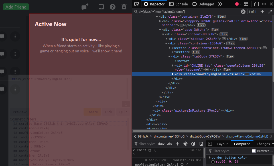 """Selecting the """"Active Now"""" view on Discord using a CSS attribute selector. The """"Active Now"""" component is highlighed in red to indicate it will be removed."""