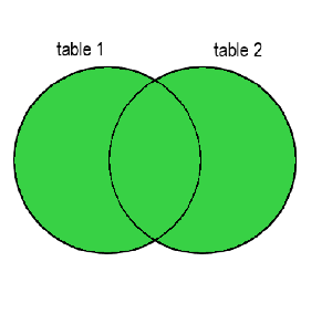 Two circles with a superimposed part. The left circle is labelled as table 1, the right circle is tabelled as table 2. Everything is colored in green.