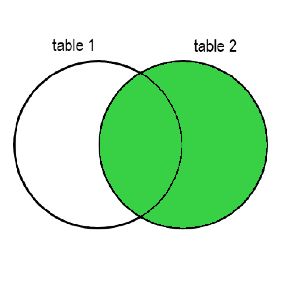 Two circles with a superimposed part. The left circle is labelled as table 1, the right circle is tabelled as table 2. The superimposed part and the rest of the table 2 cirlcle are colored in green.