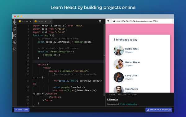 Learn React.js by Building Projects – Create a Birthday Reminder App